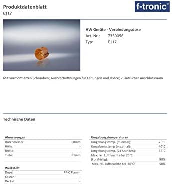 St/ück ohne VDE f-tronic Hohlwand-Ger/ätedose Inhalt: 25 E135 35mm tief