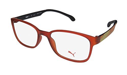Puma 15440 For Men/Women Fashionable Light Style TIGHT-FIT Designed For Running/Gym/Sports Activities Eyeglasses/Eyewear (48-17-135, Sienna/Orange/Yellow)