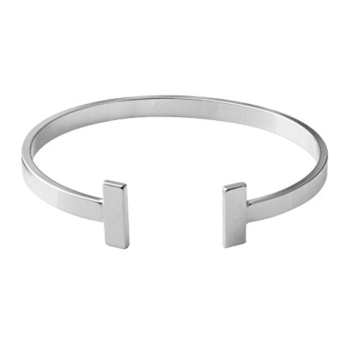 Cartier Jewelry Inspired (SENFAI Simple Double T Cuff Bracelet/Jewelry Set for Women (Thick Bracelet, Rhodium-Plated-Brass))