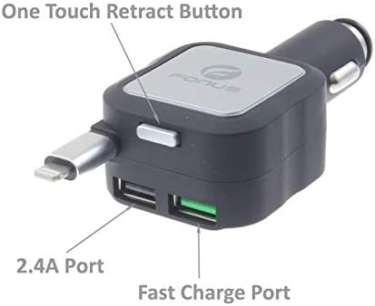 iPad Air Compatible with iPhone 5S XR Pro 10.5 3 Max 12.9 4.8Amp Retractable Car Plug-in DC Charger USB 2-Port Adapter 2 X 6 6S 7 8 Plus 9.7 Mini 2 XS Fast Charge Port 4