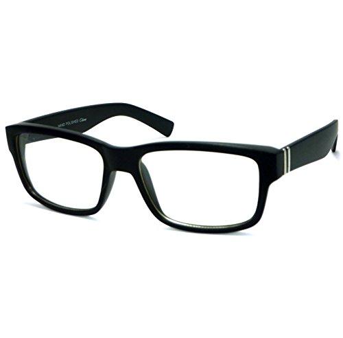 VINTAGE Designer Style Rectangle Frame Clear Lens Eyeglasses (Black Matte, Cl... (Cool Nerd Glasses)