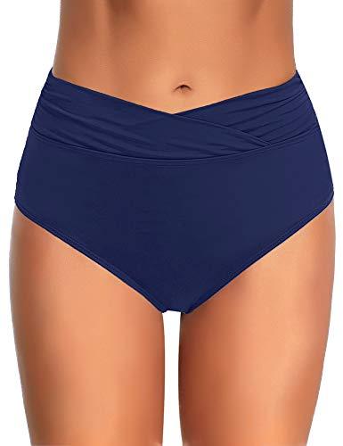 (Utyful Women's Elastic Mid Waist V Front Full Coverage Bikini Bottoms Swim Shorts Navy Blue Size M )