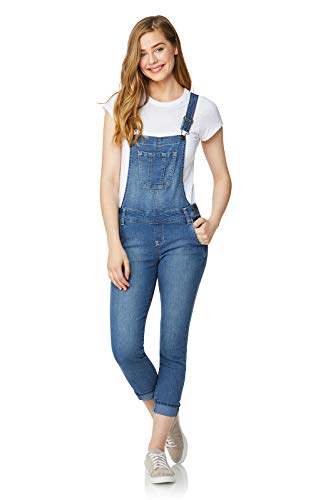 WallFlower Women's Juniors Denim Overalls in Glacier, Medium for $<!--$29.99-->