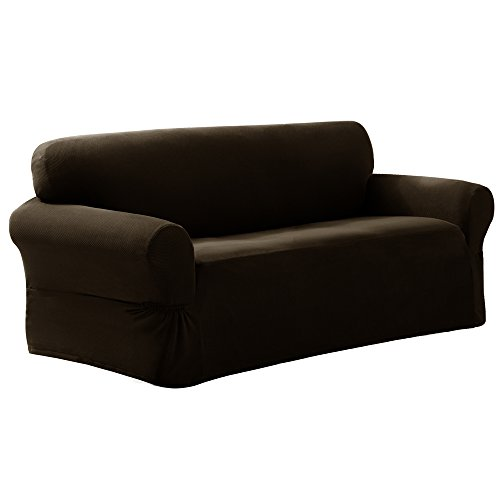 Maytex Pixel Stretch 1-Piece Sofa Furniture Cover / Slipcover, Chocolate