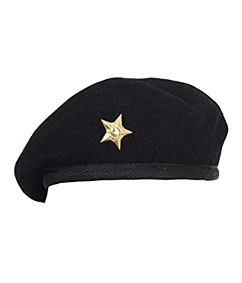 843932e8662b8 GenNxt Trends Men Cool Mix Wool Black Golden Star Military Special Force  Army French Artist Hat Cap Beret  Amazon.in  Clothing   Accessories