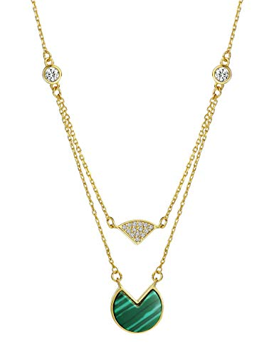 Mints 18K Gold Plated Malachite Layered Necklace Sterling Silver Fan Shaped with Cubic Zirconia Fine Jewelry for Women