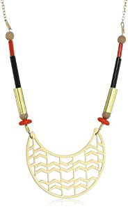 Kris Nations Canyon Beaded Southwest Inspired Gold and Red Pendant Necklace