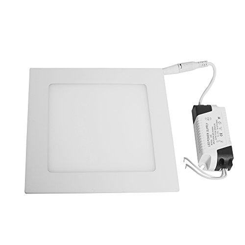 Jambo SMD LED Surface Recessed Ceiling Panel Down Lights Fixture Kit Mount Lamp Energy Saving Ultra Thin and Bright (Day white, 12W Square) ()
