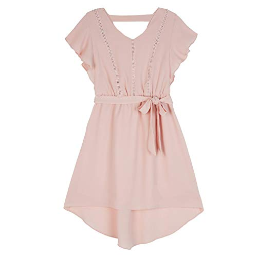 Amy Byer Girls' Big High Low Flutter Sleeve Dress, Pink, -
