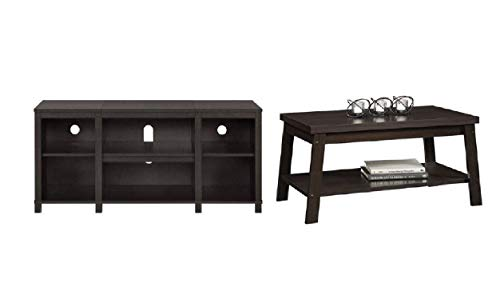 Mainstay Parsons Cubby TV Stand in Espresso Ship to Home Only with Coffee Table in Espresso