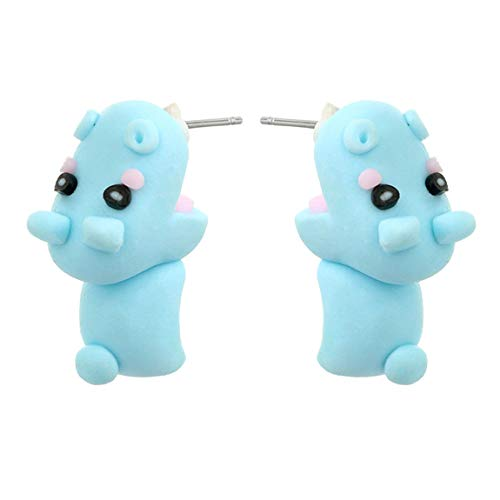 ACVIP Women's Girl's Pottery Made Animal Shaped Cartoon Earring Studs (hippos)