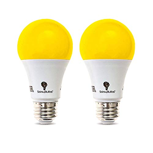 Bug Bulb Yellow Repellent Light (2-Pack Solray A19 Amber Yellow LED Bug Light Bulb No Blue Light Outdoor 650 Lumens 120V E26 Medium Base LED 9.5 -Watt (40-watt Replacement) A19 Outdoor Bug LED Warm Light Bulb)