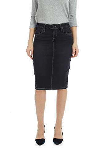 Esteez Jean Skirt for Women Powerstretch Denim Miami Black Stonewash 6