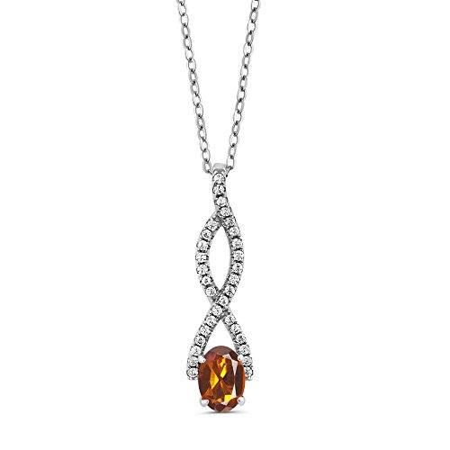 Gem Stone King 1.08 Ct Oval Orange Red Madeira Citrine 925 Sterling Silver Infinity Pendant