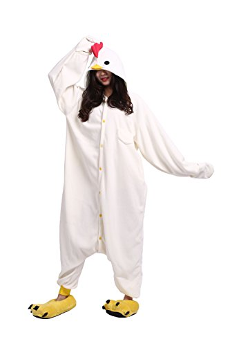 YUWELL Adult One Piece Pajama Sleepwear Cosplay Halloween Romper Rooster Animal Costume -