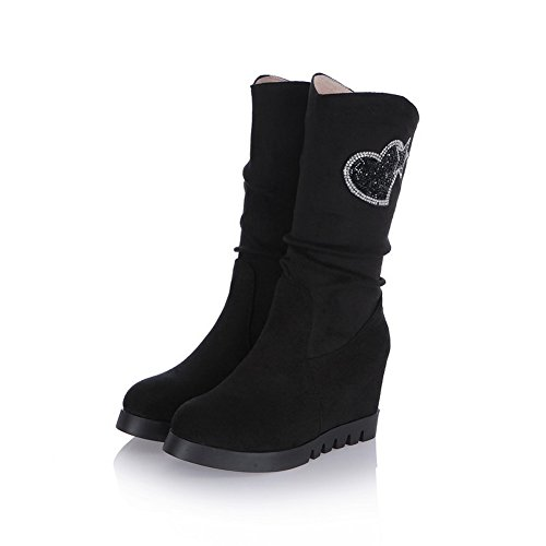 Imitated Inside Heel Thick Leather BalaMasa Bottom Diamond Girls Black Glass Heighten Boots Matching Color Wxzqv4awn
