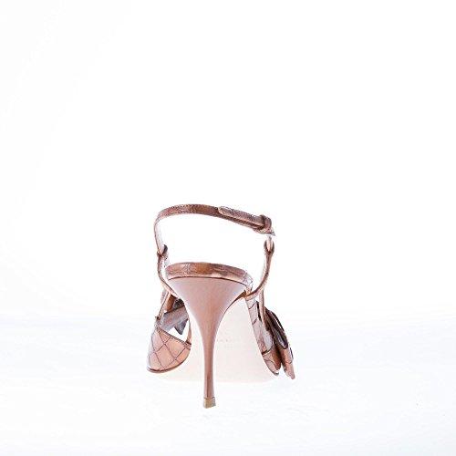 Pelle Da Miu Fiocco Goffrato Sandalo In Marrone Marrone Adornano Verniciata Donna Con Miu Coccodrillo Scarpe ggETq8wf