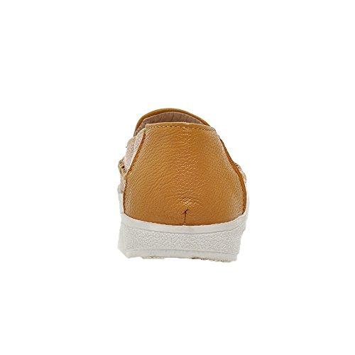 Allhqfashion Womens Pu Solid Pull-on A Punta Chiusa Tacco Basso-scarpe Giallo