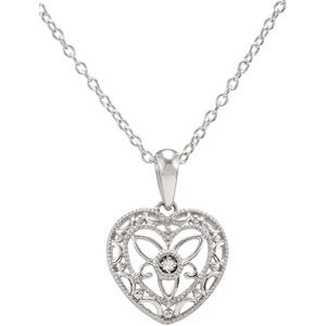 Sterling Silver Diamond Heart Necklace 18 Inch 5ct