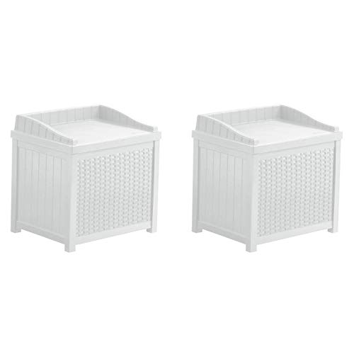 Suncast 22 Gallon Outdoor Resin Wicker Storage Patio Deck Box with Seat, White (2 Pack)