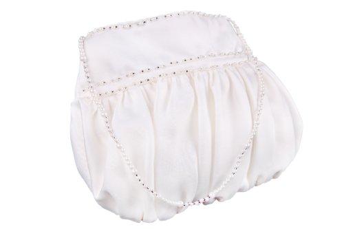 beads Handbag Bag Ivory Bridesmaid Bridal Girl Flora Satin Flower R8q0z