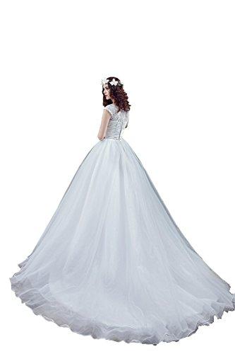 Engerla Mujer Lacey Scoop Capped mangas Volantes Empire Line Suelo longitud Trailing Capilla Vestido de novia Marfil