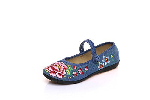 AvaCostume Womens Casual Embroidery Mary Jane Flat Single Shoes Blue GzxwSq