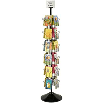 Amazon greeting card display rack with 16 5 x 7 tiered greeting card display rack with 24 5 x 7 pockets 66 tall rotating wire stand black wire construction with plastic base and sign holder m4hsunfo