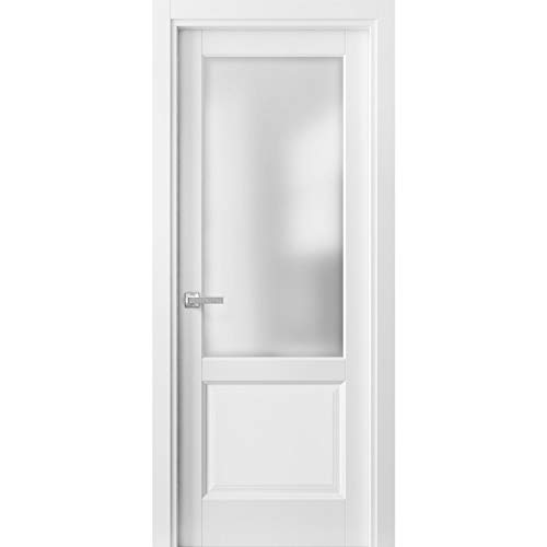 Pantry Kitchen Lite Door 36 x 80 with Hardware | Lucia 22 Matte White with Frosted Opaque Glass | Single Pre-Hung Panel Frame Trims | Bathroom Bedroom Sturdy Doors