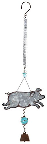 Sunset Vista Designs 92163 Bouncy Garden Decoration with Mini Cowbell, 11-Inch, Pig