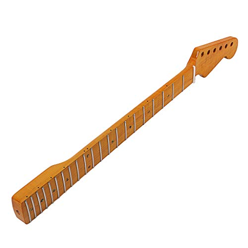Foncircle Yellow Tiger Flame Maple, 21 Fret Maple Guitar Neck Replacement Guitar Neck for ST Electric Guitar ()