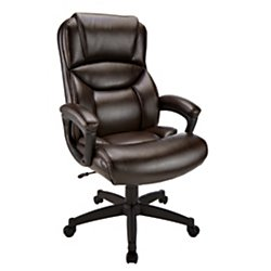 Realspace(R) Fennington High-Back Bonded Leather Chair, Brown/Black by Realspace