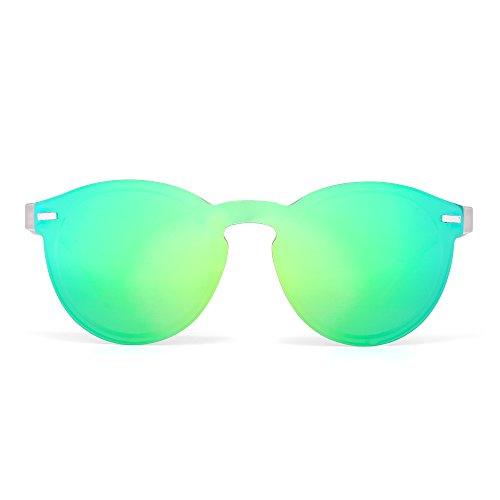 Polarized Rimless Sunglasses Reflective One Piece Round Mirrored Eyeglasses for Men Women (Matte Transparent / - Eyeglasses Round Rimless