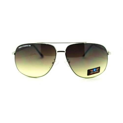 Mens Air Force Luxury Top Gun Pilot Narrow Aviator Sunglasses Silver - Guys Top Sunglasses For