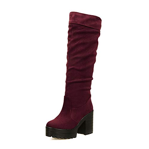 (T-JULY Women Knee High Boots Ladies Elegant Square High Heel Platform Shoes Woman Faux Suede Slip On Knight Fashion Boots)