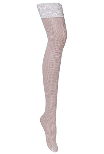 Joyaria Womens Fishnet Thigh-High Stockings with Silicone Lace Top(White,Plus - Lace Pantyhose Up Lace