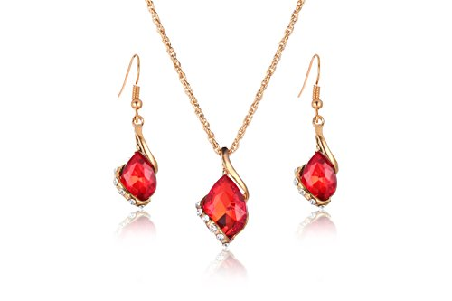 (Ezing Women Crystal Pendant Gold Plated Chain Necklace Earring Jewelry Set (red))