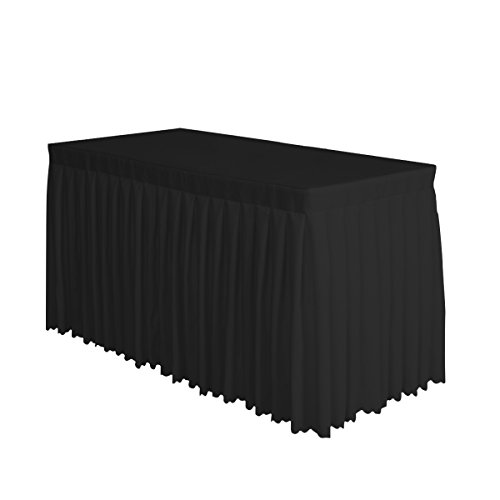 Surmente Tablecloth 14 ft Polyester Table Skirt for Weddings, Banquets, or Restaurants(Black) ... ... ()