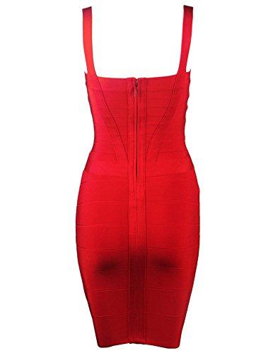 Women's Bandage Meilun Dress Mini Bodycon Red Strap Pencil PqdwxdEHz