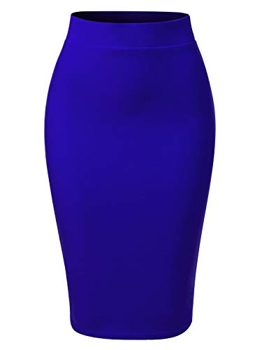 Classic Spandex Skirt - MixMatchy Women's Solid Techno Scuba Bodycon Pencil Skirt with Back Slit Royal Blue L