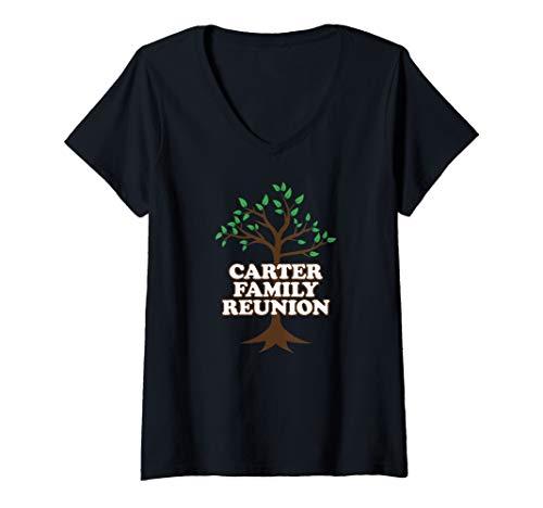 Womens Family Tree Carter Family Reunion V-Neck T-Shirt