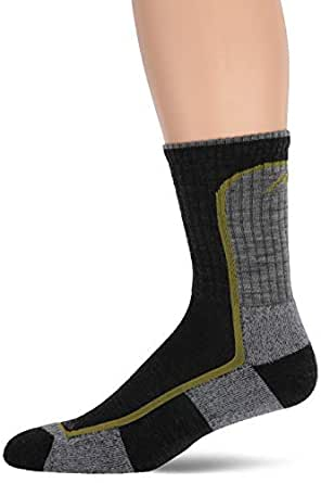 Darn Tough Vermont Men's Merion Wool Micro-Crew Light Cushion Hiking Socks, Charcoal/Lime, Small