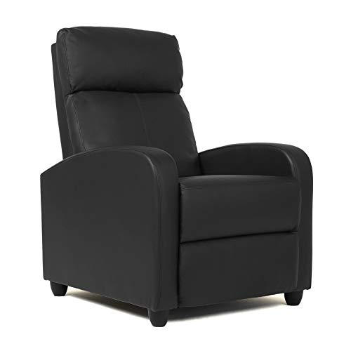 FDW Wingback Recliner Chair Leather Single Modern Sofa Home Theater Seating for Living Room (Black)