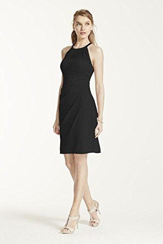 Side Cascade - Sleeveless Short Mesh Bridesmaid Dress with Side Cascade Style F15612, Black, 16