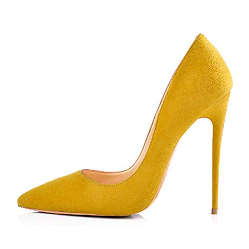 Onlymaker Women's Sexy Pointed Toe High Heel Slip On Stiletto Pumps Large Size Basic Shoes Yellow 8 M US