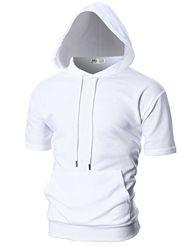 Ohoo Mens Slim Fit Short Sleeve Lightweight Hoodie with Kanga Pocket/DCF013-WHITE-L (Jacket Hoodie Trim)