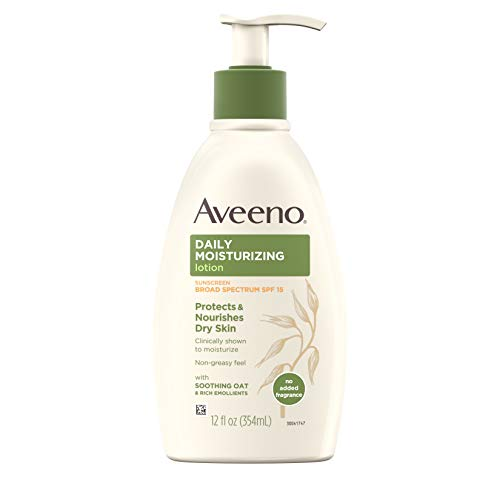 Aveeno Daily Moisturizing Body Lotion with Broad Spectrum SPF 15 Sunscreen, Soothing Oat & Rich Emollients to Nourish Dry Skin, Non-Greasy, 12 fl. oz (Best Body Moisturizer With Spf)