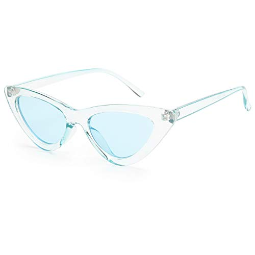 Livhò Retro Vintage Narrow Cat Eye Sunglasses for Women Clout Goggles Plastic Frame (Clear blue/blue)