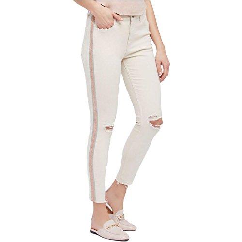 Free People Womens Denim Embellished Jeans Ivory 28