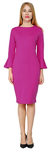 Ponte Dress (Marycrafts Womens Flounce Bell Sleeve Pencil Cocktail Party Dress 2 Magenta)